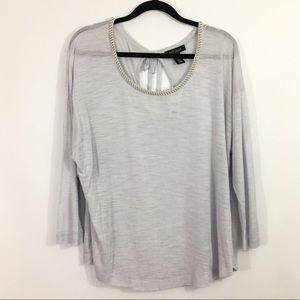 WHBM blouse top ribbon tie dolman shirt pearl !E